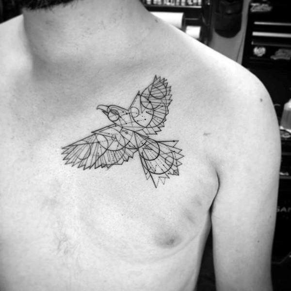 Geometrical Fine Lines Mens Eagle Upper Chest Tattoo