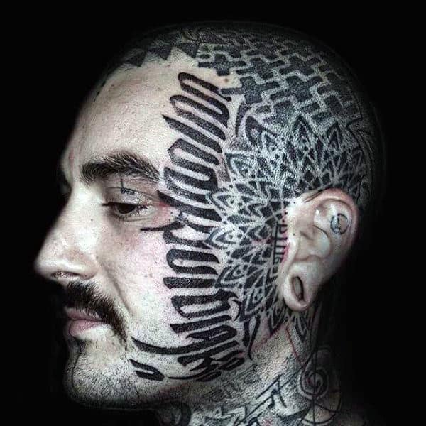 Geometrical Flower Mens Face Tattoo With Lettering Design