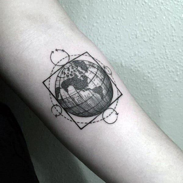 Geometrical Globe Forearm Tattoos For Men