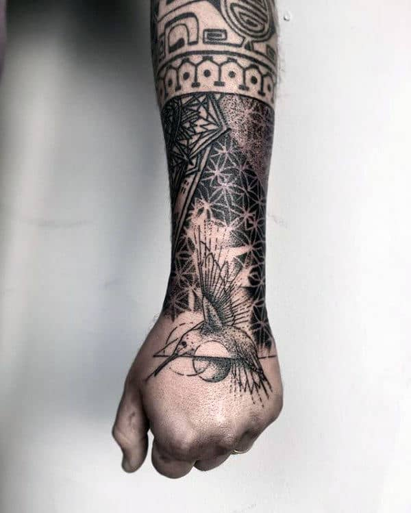 Geometrical Hummingbird Mens Hand And Wrist Tattoos