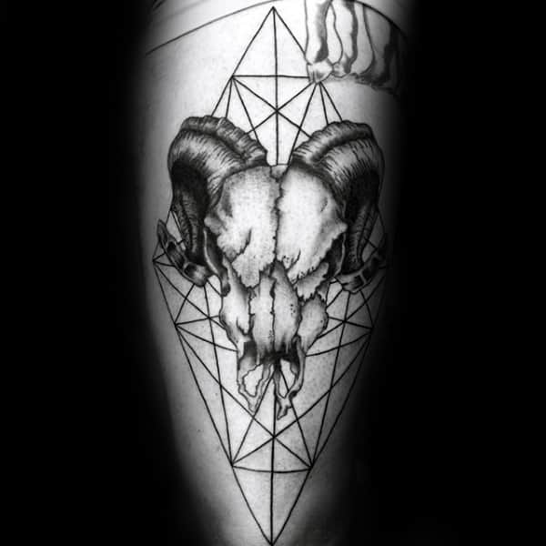 Geometrical Linework Male Goat Skull Arm Tattoos