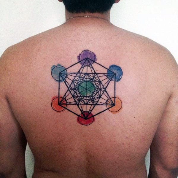 Geometrical Male Chakras Circle Back Tattoos