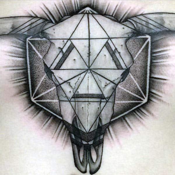 Geometrical Mens Triangle Bull Skull Chest Tattoo Ideas