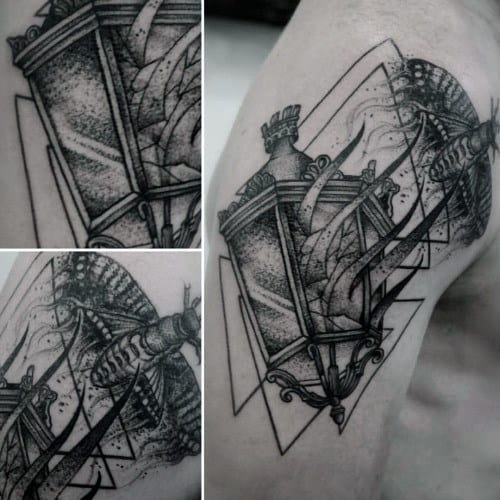 Geometrical Moth Lantern Mens Arm Tattoos