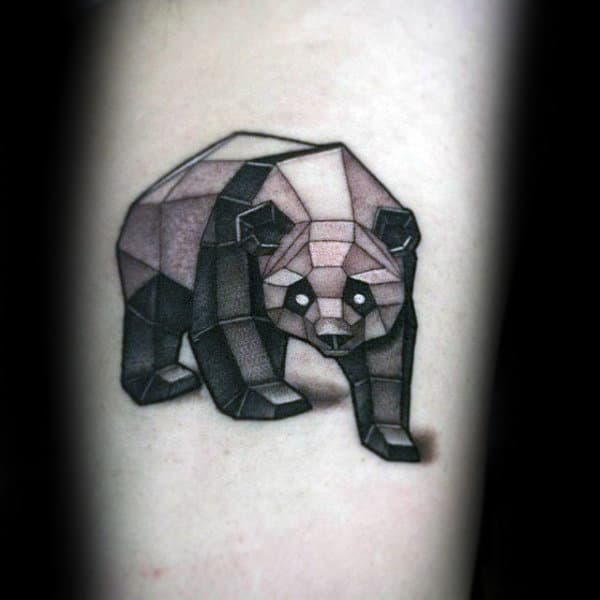 Geometrical Panda Bear Figure Mens Arm Tattoos