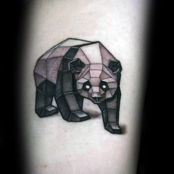 Geometrical Panda Bear Figure Mens Arm Tattoos