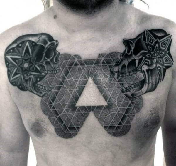 Geometrical Pattern Mens Skull Triangle Chest Tattoo