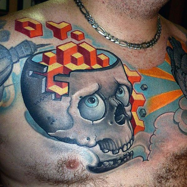 Geometrical Patterns On Skull New School Tattoo Male Chest