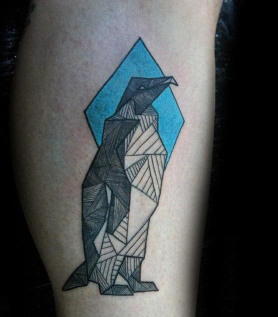 Geometrical Penguin Mens Creatie Arm Tattoo Ideas