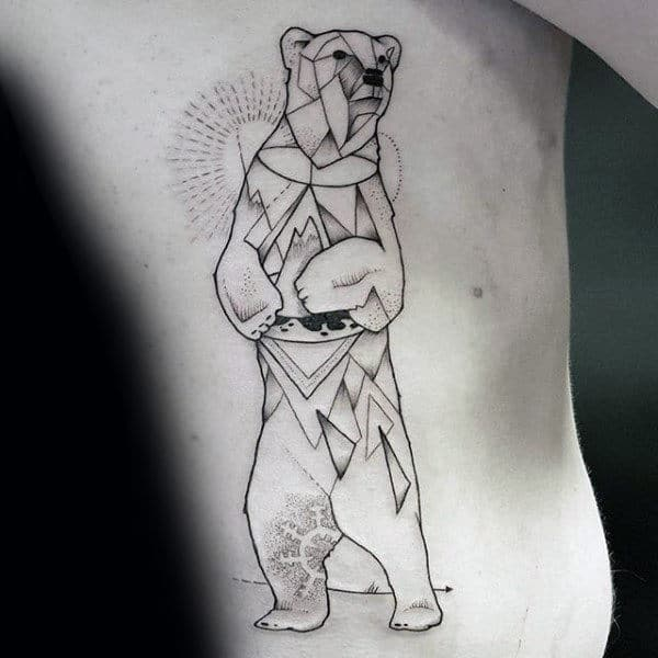Geometrical Polar Bear Male Rib Cage Side Tattoos