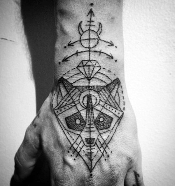 Geometrical Raccoon Mens Hand Tattoos