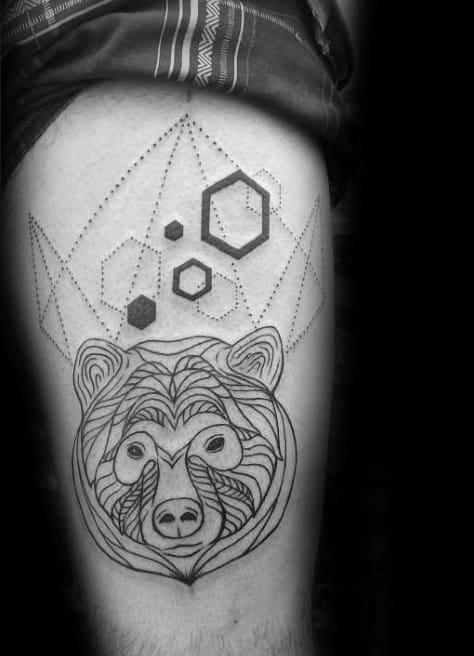 Geometrical Shapes And Lines Mens Bear Thigh Tattoo