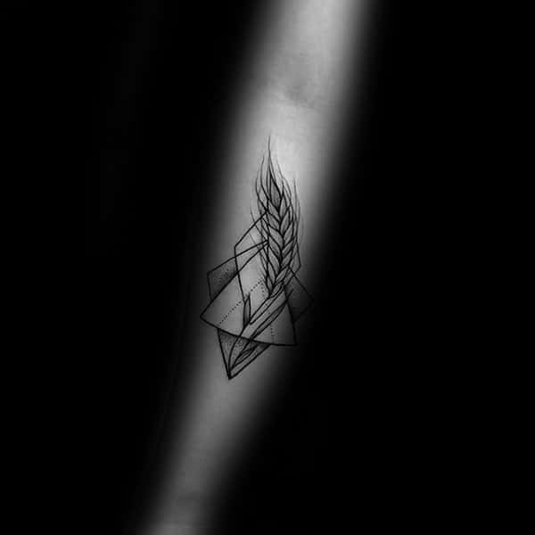 Geometrical Small Wheat Sketched Inner Forearm Tattoos For Guys