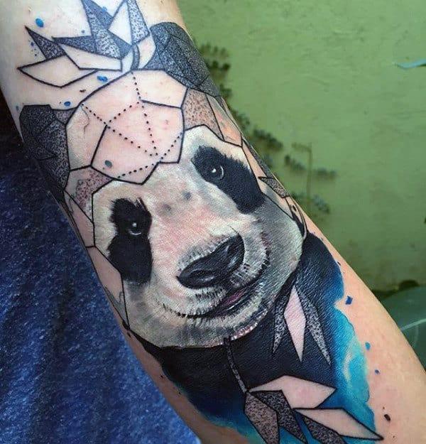 Geometrical Watercolor Mens Panda Outer Arm Tattoos