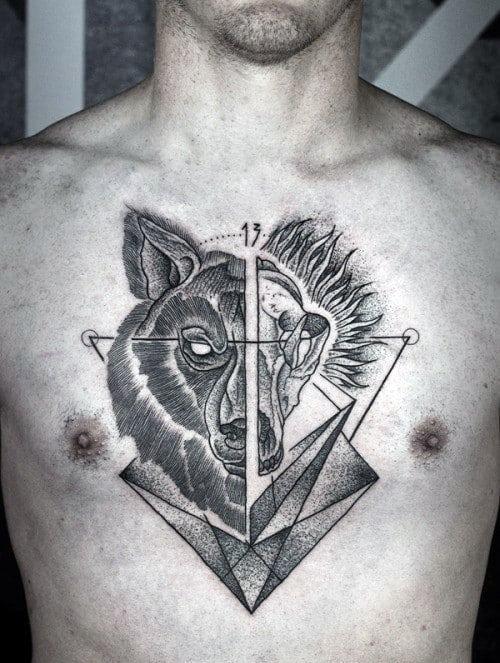 Geometrical Wolf Skull Guys Chest Tattoo With Dotwork Design