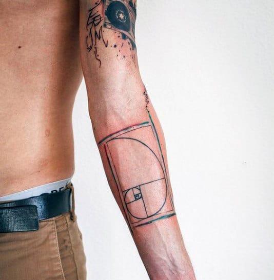 Geometry Fibonacci Spiral Mens Inner Forearm Tattoo