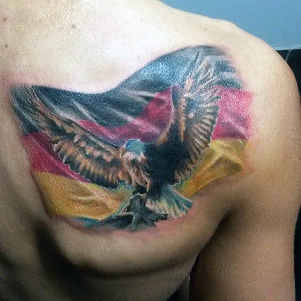German Flag With Flying Eagle Mens Shoulder Tattoo