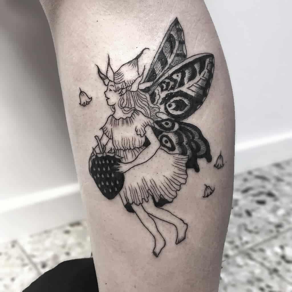 German Vegan Line Work Fairy Tattoo