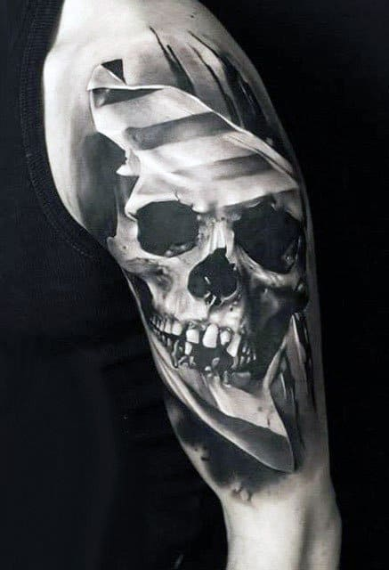 Ghastly Skull Realism Tattoo Mens Arm