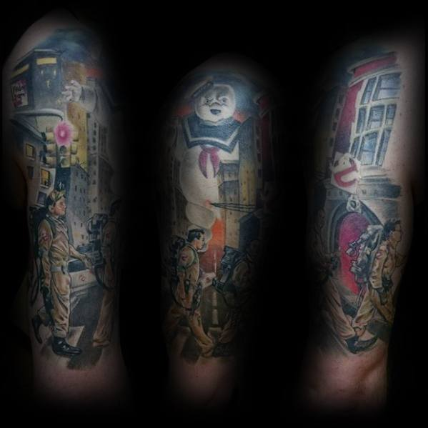 Ghostbusters Themed Mens Half Sleeve Tattoo Designs