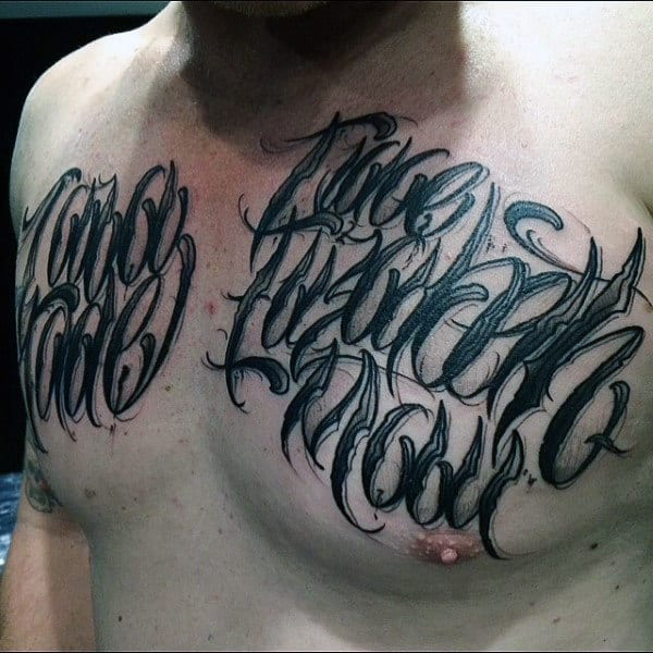 Ghostly Script Lettering Tattoo Male Chest