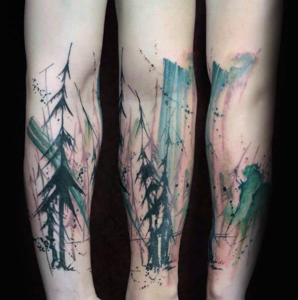 Ghostly Watercolor Tree Tattoo Male Forearms