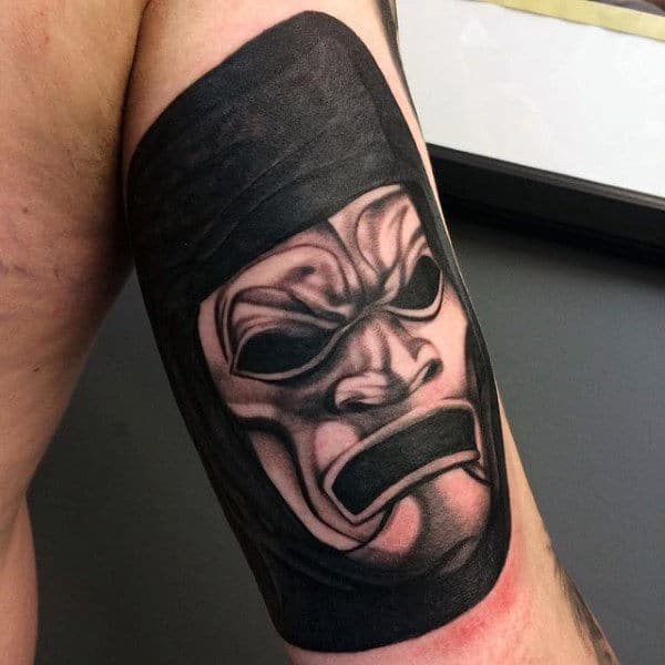 Ghoul Inside Warrior Helmet Tattoo Mens Arms