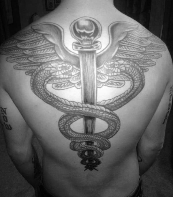Giant Caduceus Mens Back Tattoo Ideas