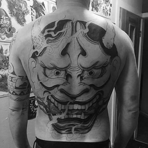Giant Hannya Japanese Demon Mask Male Back Tattoo