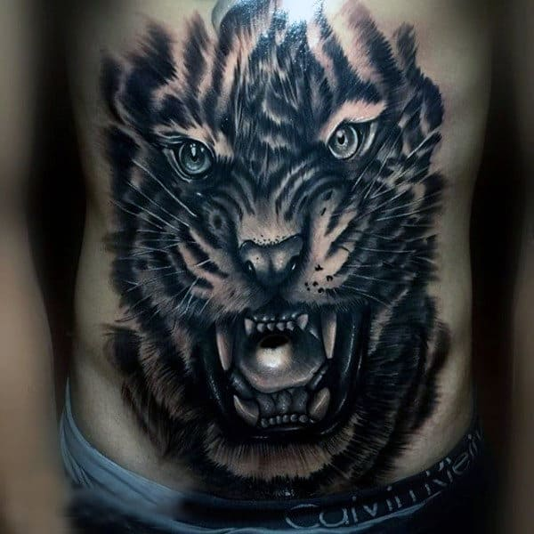 Giant Mens Tattoo Of Tiger