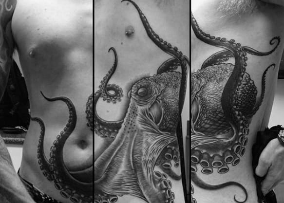 Giant Octopus Chest And Ribs Mens Tattoos