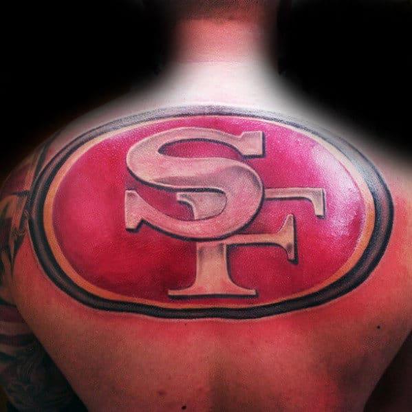 Giant San Francisco 49ers Logo Mens Back Tattoo