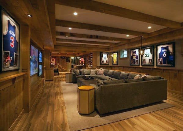 Giant Sectional Sofa Media Room Basement Man Cave