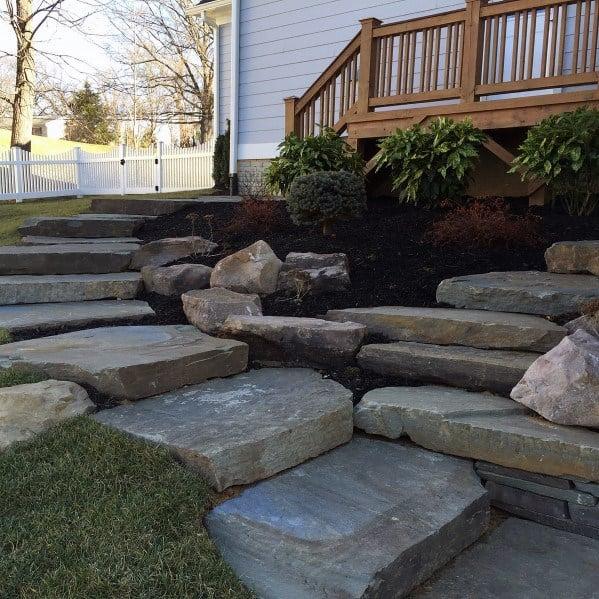 Giant Stones Walkway Backyard Lanscaping Ideas