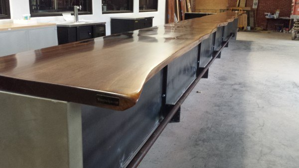Giant Wood Slab Polished Bar Top Ideas