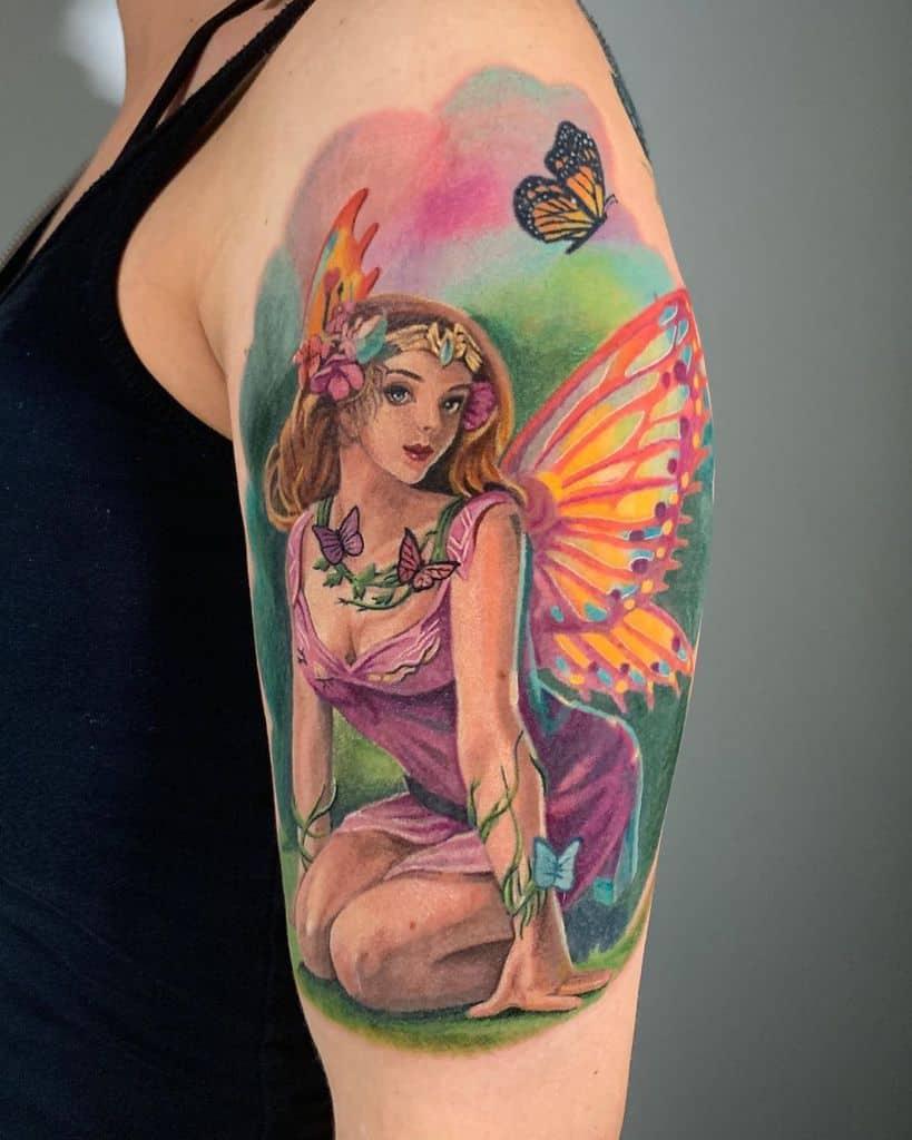 Girl Colorful Fairy Tattoo
