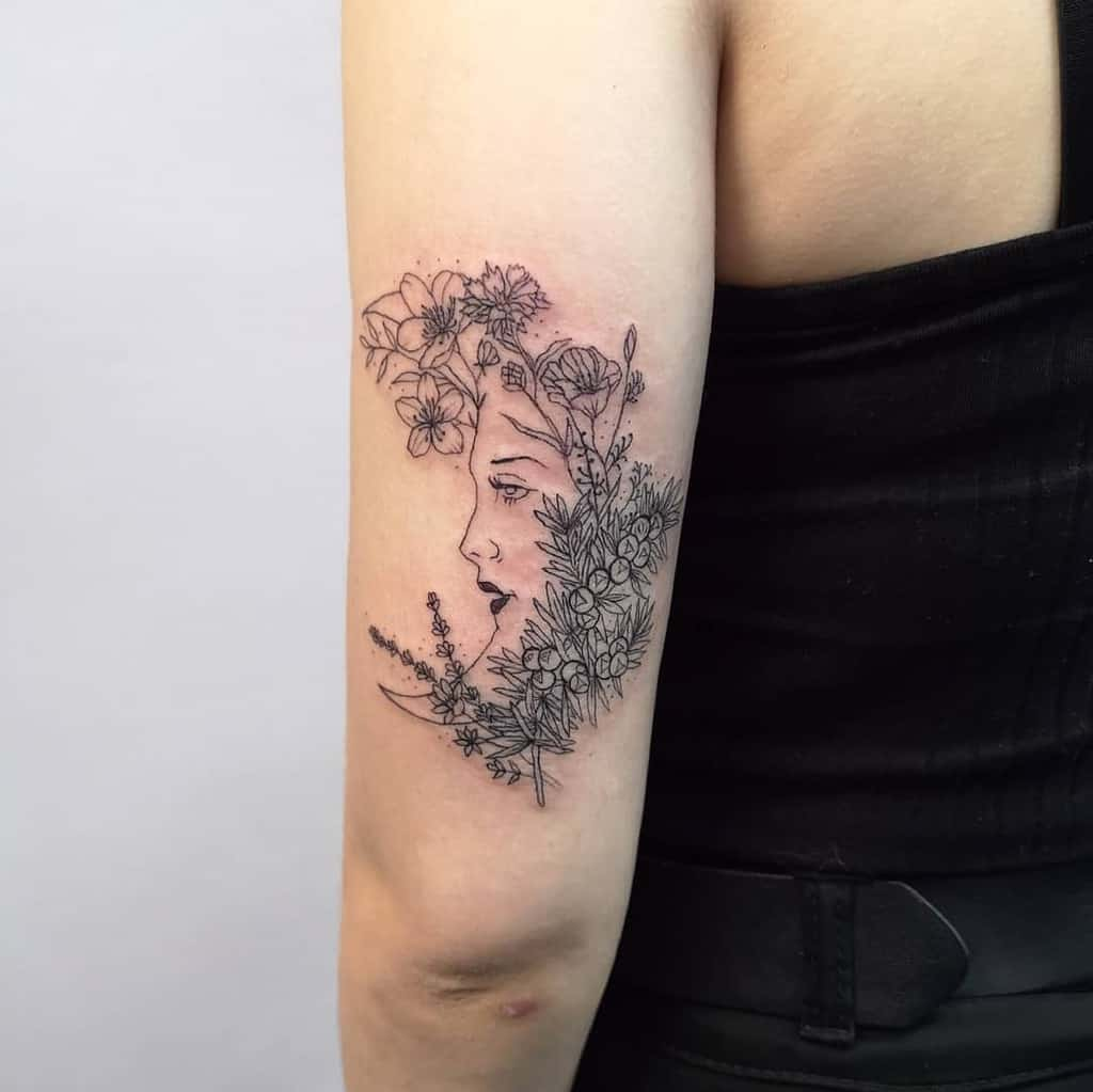 Girl Moon Lavander Tattoo