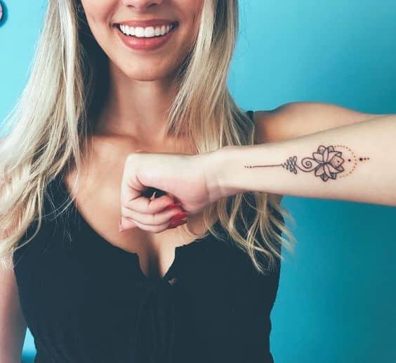 Girl Nice Unalome Tattoo