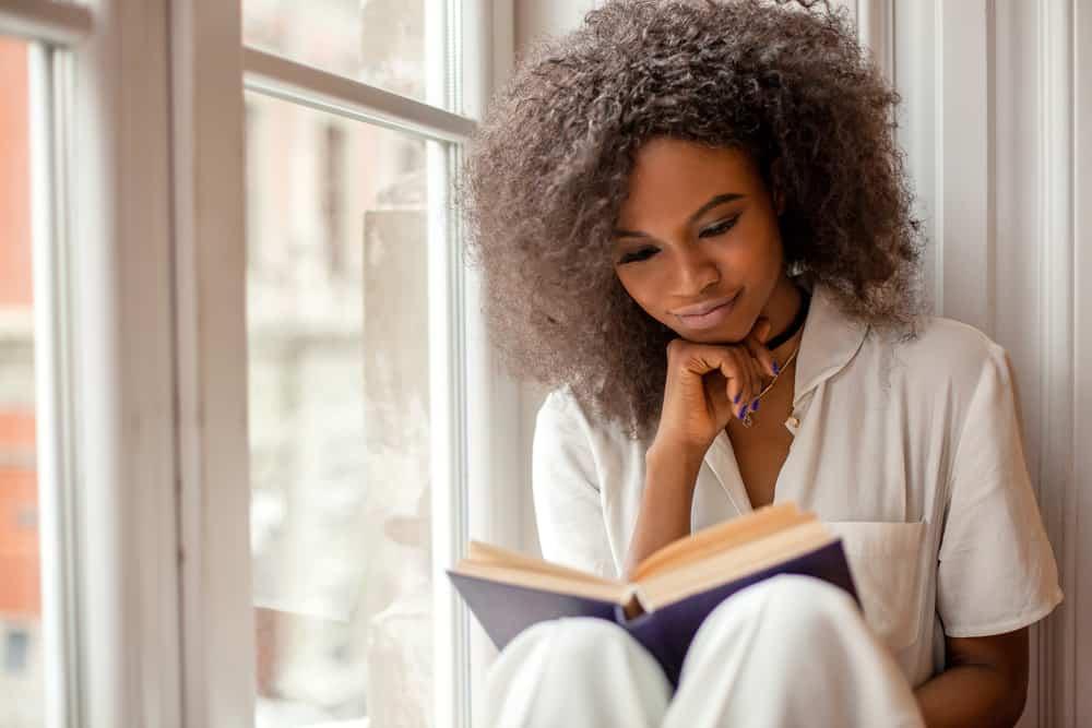 pretty girl reading book