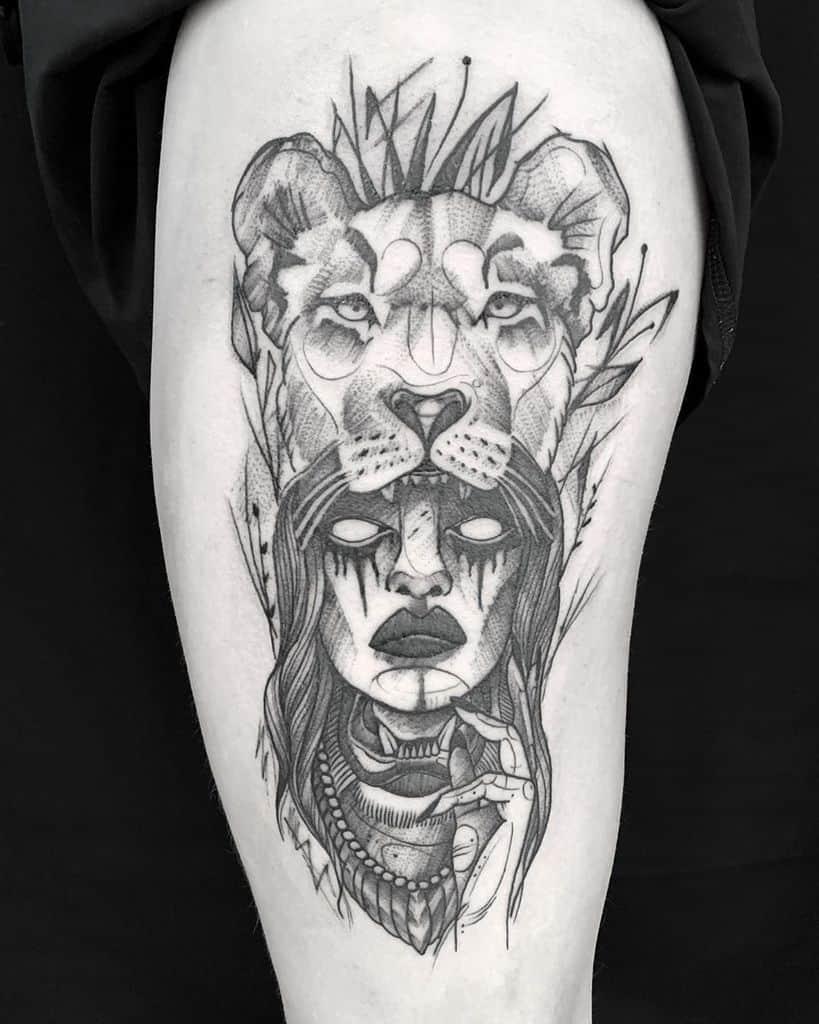 Girl Sketch Line Lion Tattoo