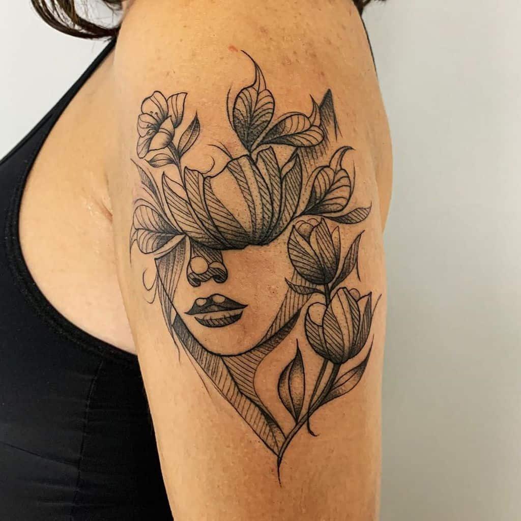 Girl Tulip Tattoo