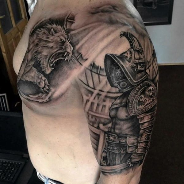 Gladiator Combat Tattoo On Man