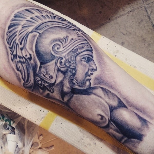 Gladiator Helmet Tattoos For Men On Bicep