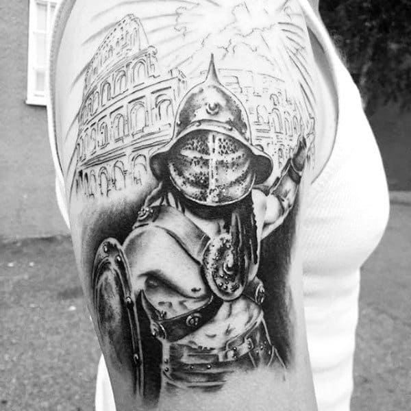 Gladiator With Sword Tattoo For Males Half Sleeve