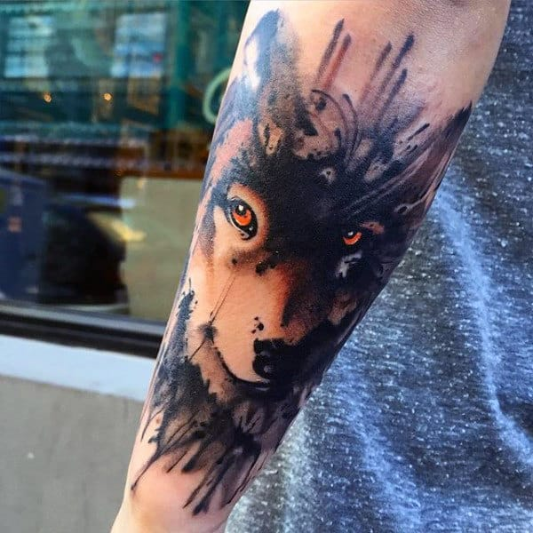 Glaring Beast Watercolor Tattoo On Elbows For Guys