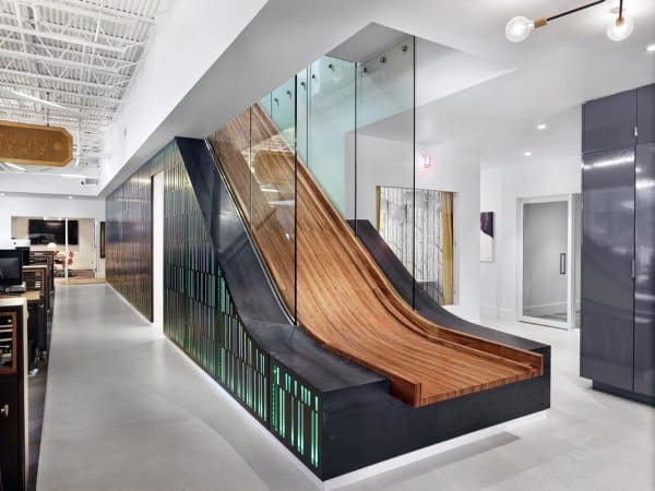 Glass And Wood Office Indoor Slide Ideas