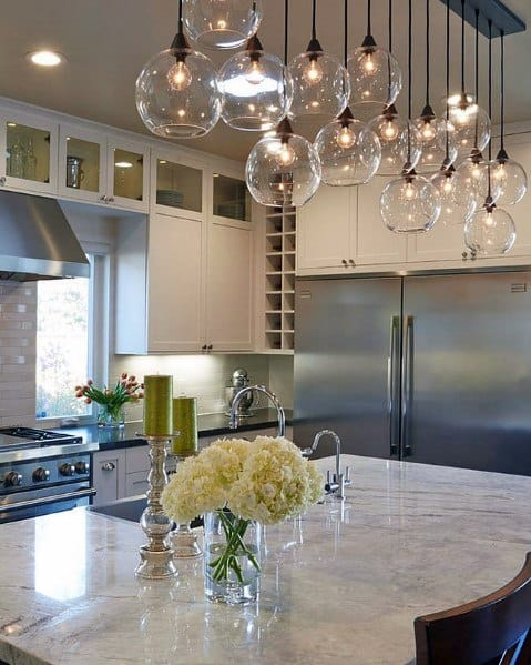 Glass Balls Kitchen Island Lighting Interior Ideas