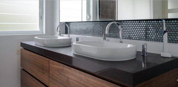 Glass Circle Small Tiles Design Ideas For Bathroom Backsplash