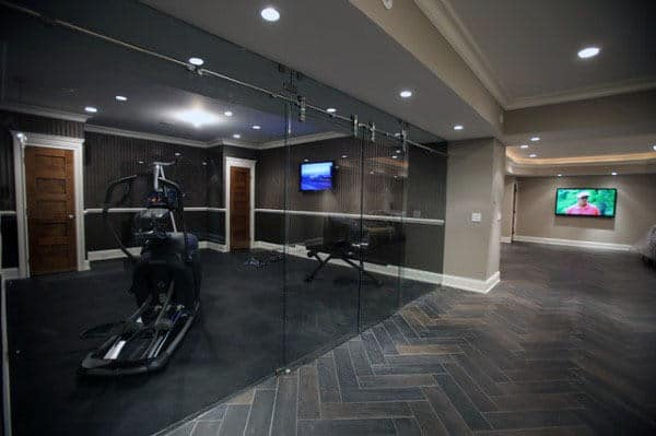 Glass Closure Home Basement Personal Gym Designs For Guys
