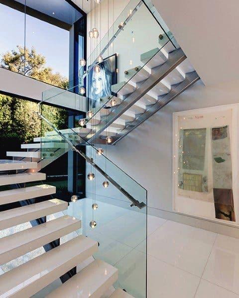 Glass Crystal Ball Chandelier Foyer Lighting Design Inspiration